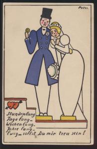 Künstler Ansichtskarte handgemalt Treuekarte mit Liebesspruch sign. Peter