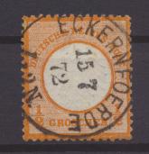 Briefmarken Deutsches Reich Brustschild 14 schöner Vollstempel  K1 Eckernföerde