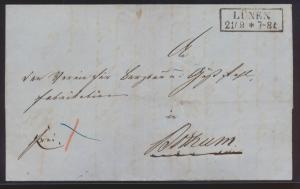 Altdeutschland Preussen markenloser Brief mit R2 Lünen vom 29.9.1857 mit Inhalt