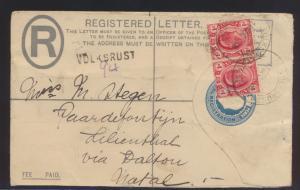 Afrika Transvaal Einschreibe Ganzsache + ZUF seltener L1 VOLKSRUST n. Lilienthal