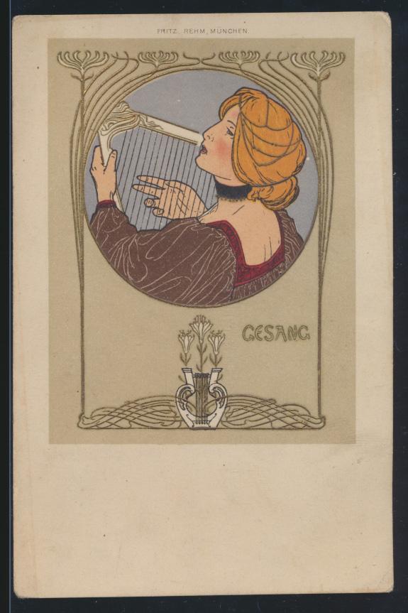 Ansichtskarte Jugendstil Art Nouveau Künstler um 1897 von Fritz Rehm München 0