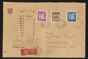 Besetzung Böhmen & Mähren Wertbrief von Prag n. Braunschweig