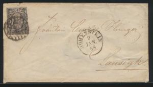 Altdeutschland Sachsen Brief EF 1/2 Ngr. Nrn.St. + K1 Hohenstein nach Lausigk