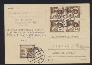 Deutsches Reich Brief Postkarte MIF Viererblock Pfullendorf n. Renaix Belgien