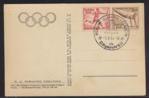 Deutsches Reich Brief Zusammendruck Olympia SST Berlin Stadion auf Ansichtskarte
