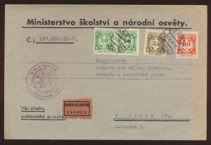 Besetzung Böhmen & Mähren Eilbotenbrief Ministerium für Schulwesen Prag