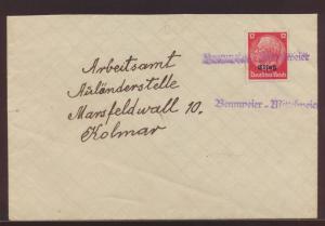 Deutsche Bestzung Elsaß Brief viol L1 Bennweier Mittelweier Bennwihr Frankreich