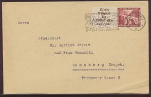 Deutsches Reich Brief Zusammendruck WHW Bauten Werbestempel Glauchau n. Annaberg