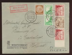 Reich Brief Zusammendruck WHW + Flugpost Steinadelr dekorativ Bochum Niederlande