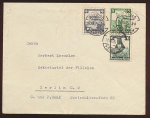 Deutsches Reich Brief Zusammendruck Nothilfe Trachten von Altona nach Berlin