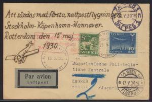 Flugpost air mail Schweden Erstflug Brief Stockholm Rotterdam via Wien Österreic
