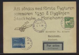 Flugpost air mail Schweden Erstflug Karte Stockholm Mariehamn Finnland 1.7.1930