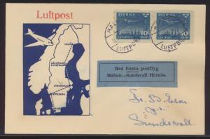 Flugpost air mail Schweden Erstflug Brief MEF Malmö Sundsvall blauer Aufkleber