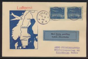 Flugpost air mail Schweden Erstflug Brief MEF Lilea Stockholm blauer Aufkleber