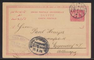 Bahnpost Ägypten Ganzsache Hetzdorf Eppendorf Zug 5408 Egypt postal stationery