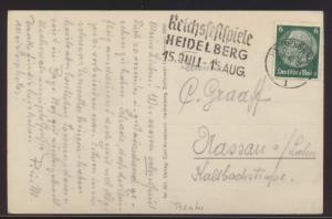 Reich Theater Ansichtskarte Hindenburg Werbestempel Reichsfestspiele Heidelberg