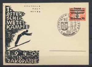 Besetzung Generalgouvernement Dt. Post Osten 1. Oster Ski Wettkämpfe Zakopane
