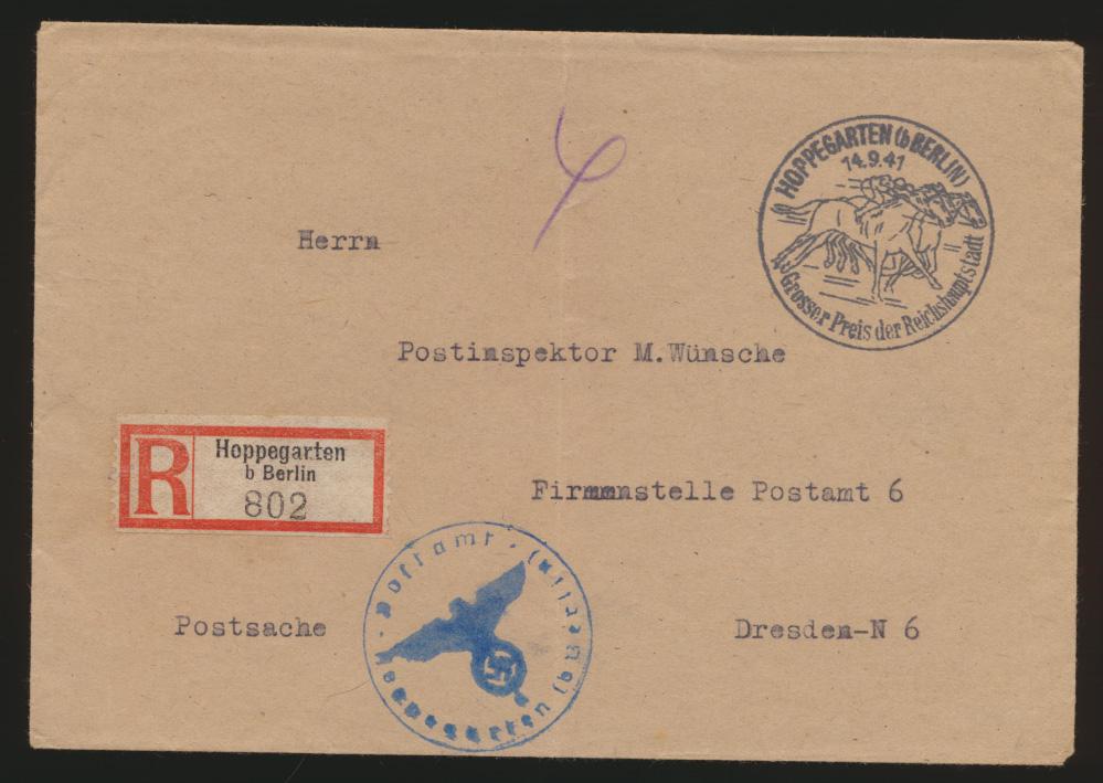 Postsache Deutsches Reich R Brief unfrankiert SST Hoppengarten Berlin Pferde  0