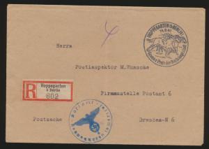 Postsache Deutsches Reich R Brief unfrankiert SST Hoppengarten Berlin Pferde