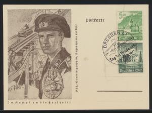 Deutsches Reich Ganzsache Im Kampf um die Freiheit mit Zusammendruck WHW Dresden
