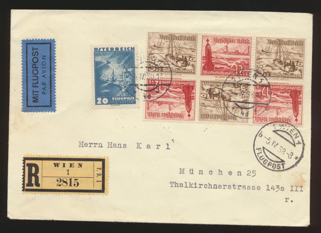 Ostmark D. Reich Österreich R Brief 2 Länder Frankatur 6er Block Zusammendruck 0