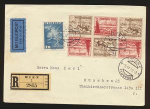 Ostmark D. Reich Österreich R Brief 2 Länder Frankatur 6er Block Zusammendruck