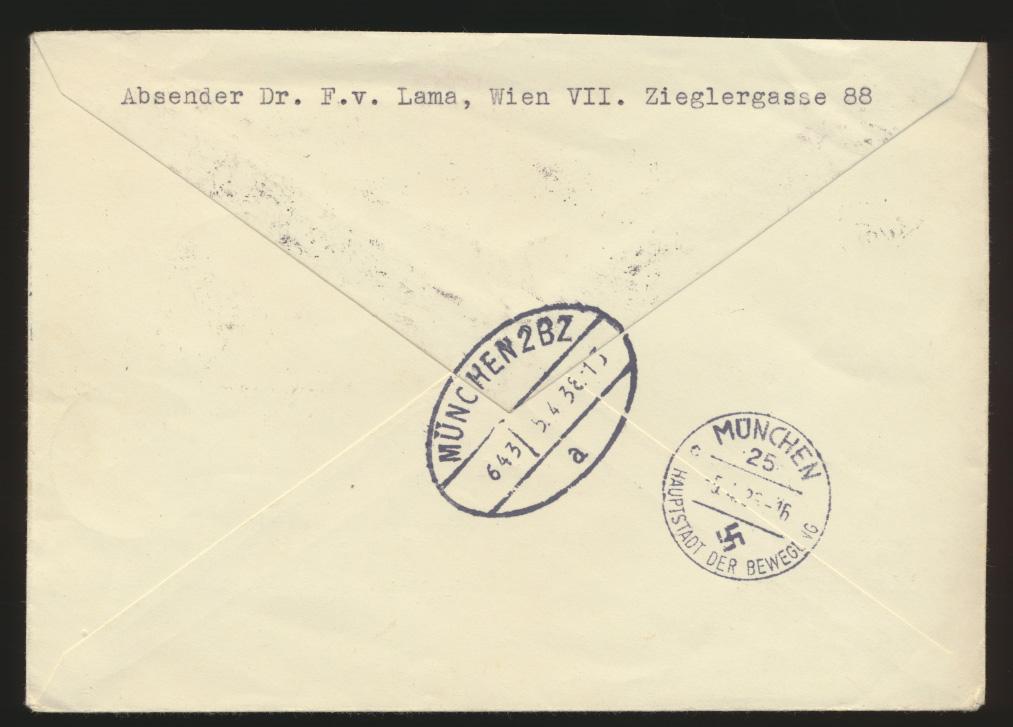 Ostmark D. Reich Österreich R Brief 2 Länder Frankatur 6er Block Zusammendruck 1