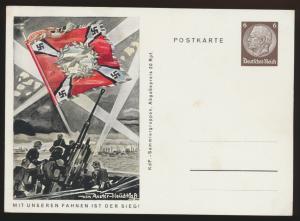 Deutsches Reich Propaganda Ganzsache P 243 02 Mit unseren Fahnen ist der Sieg