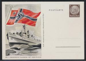 Deutsches Reich Propaganda Ganzsache P 243 07 Mit unseren Fahnen ist der Sieg