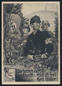 Besetzung Sudetenland Propaganda Ansichtskarte mit Nr. 2 Aufdruck Asch ist frei
