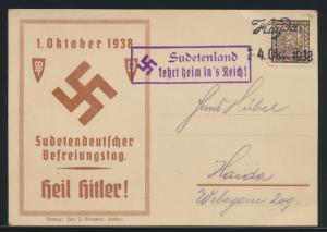Besetzung Sudetenland Propaganda Karte viol. R2 kehrt heim ins Reich L2 Hayda