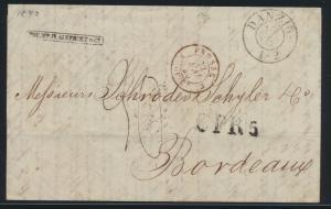 Danzig Brief früher K2 + Grenzübergangsstempel CPR 5 Aachen Bordeaux Frankreich