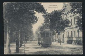 Ansichtskarte Hohensalza Bahnhofstraße Feldpost Labia Ostpreussen Straßenbahn