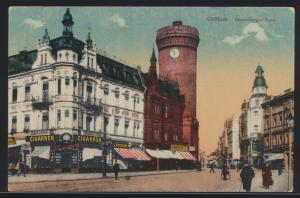 Ansichtskarte Cottbus Brandenburg Turm per Feldpost nach Labiau Ostpreussen 1918