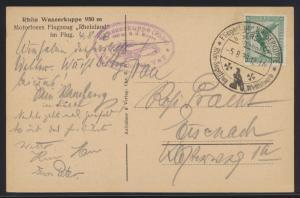 Flugpost air mail Deutsches Reich Karte EF Adler Rhön Segelflug nach Eisenach