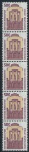 Bund 1679 R I 5er-Streifen  500 Pf Staatstheater Cottbus SWK Kat.Wert 40,00