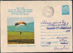 Rumänien Sport 1979 seltener schöner Ganzsachenumschlag Gleitflieger