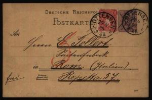 Deutsches Reich Ganzsache P 18 + ZUF von Ottensen nach Rom Italien nachtaxiert
