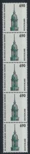 Bund Rollenmarken 5er Streifen 690 Pf Sehenswürdigkeiten 1860 R postfrisch