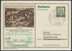 Bund Privatganzsache P 72 Zudruck SST 150 Jahre Postamt Lorch nach Frankfurt