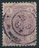 Finnland 19 B y gestempelt - 1 Markka Freimarke  Wappen