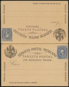 Mexiko Ganzsache postal stationery P 10 Frage Antwort gezähnt zusammenhängend