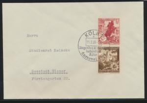 Deutsches Reich Zusammendruck Brief WHW Bauwerke SST Köln Karneval Wismar