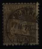 Schweiz 28 Sitzende Helvetia 1 Franken Höchstwert 1862 sauber gestempelt