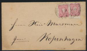 Bahnpost K1 Wismar Hagenow D. Reich Brief selt. Stempel n. Kopenhagen Dänemark