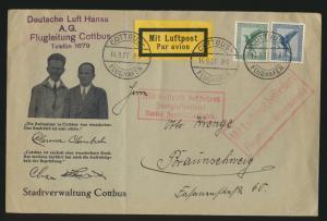 Flugpost air mail illustr. Brief Lufthansa Flugleitung Cottbus n. Braunschweig