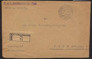 Flugpost air mail Österreich Austria K.u.K. Seeflugstation Pola nach Fiume mit