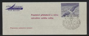 Flugpost air mail Tschechoslowakei Adresszettel 1,20 Kc. mit SST Prag 1962