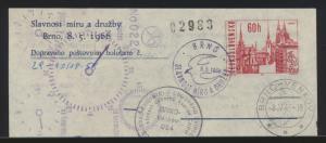 Flugpost air mail Tschechoslowakei Adresszettel 60 h. mit SST Brno Venkov