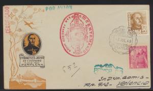 Flugpost air mail Spanien Spain Gedenken an Francisco Javier Pamplona Valencia